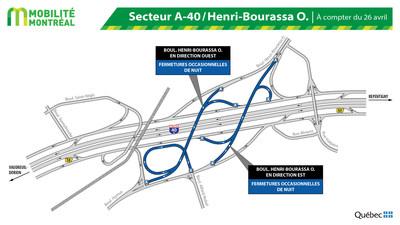 Secteur A-40 et boulevard Henri-Bourassa (Groupe CNW/Ministère des Transports)