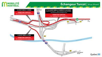 Fermetures de bretelles dans l'échangeur Turcot, fin de semaine du 26 avril (Groupe CNW/Ministère des Transports)