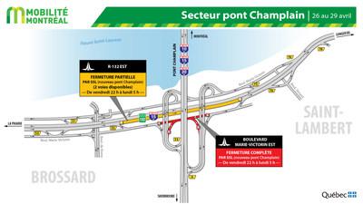 Secteur pont Champlain - boulevard Marie-Victorin à Brossard, fin de semaine du 26 avri (Groupe CNW/Ministère des Transports)