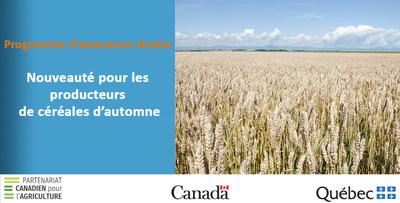 Nouvelle protection d'assurance récolte contre la mortalité hivernale des céréales d'automne (Groupe CNW/La Financière agricole du Québec)