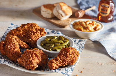 For five decades, guests at Cracker Barrel® have enjoyed generous portions of high-quality, homestyle food offered at an everyday value. Southern Fried Chicken further delivers on this promise to provide authentically prepared homestyle cooking at a fair price, as each plate features a half chicken – a breast, thigh, leg and wing – and is served with two country sides and homemade buttermilk biscuits or corn muffins, for $10.79.