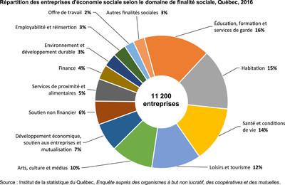 Répartition des entreprises d'économie sociale selon le domaine de finalité sociale, Québec, 2016 (Groupe CNW/Institut de la statistique du Québec)