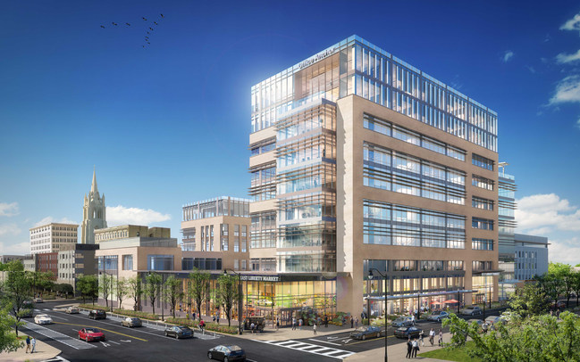 Architectural rendering of Liberty East, a $50-million mixed-use real estate development project in Pittsburgh that includes nearly 246,000 square feet of Class-A, boutique office space, an additional 4,600 square feet of retail space, nearly 700 vehicle parking spaces and parking for 60 bicycles.
