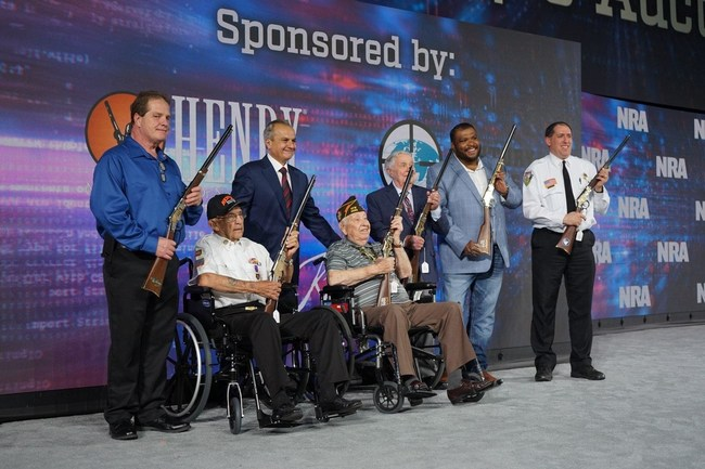 """Veterans and Law Enforcement honored by Henry Repeating Arms during the 2019 NRA Foundation Banquet in Indianapolis, IN. From L to R: Marshall Easley, Wetzel """"Sundown"""" Sanders, Anthony Imperato, Don Burwell, Al Hutchcraft, Omar Avila, Chris Fitzgerald."""