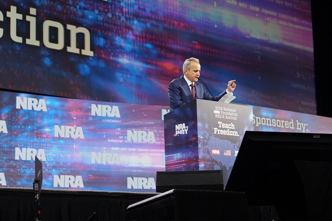 Anthony Imperato, President and Owner of Henry Repeating Arms addressing a packed house at the Lucas Oil Stadium for the 2019 NRA Foundation Banquet.