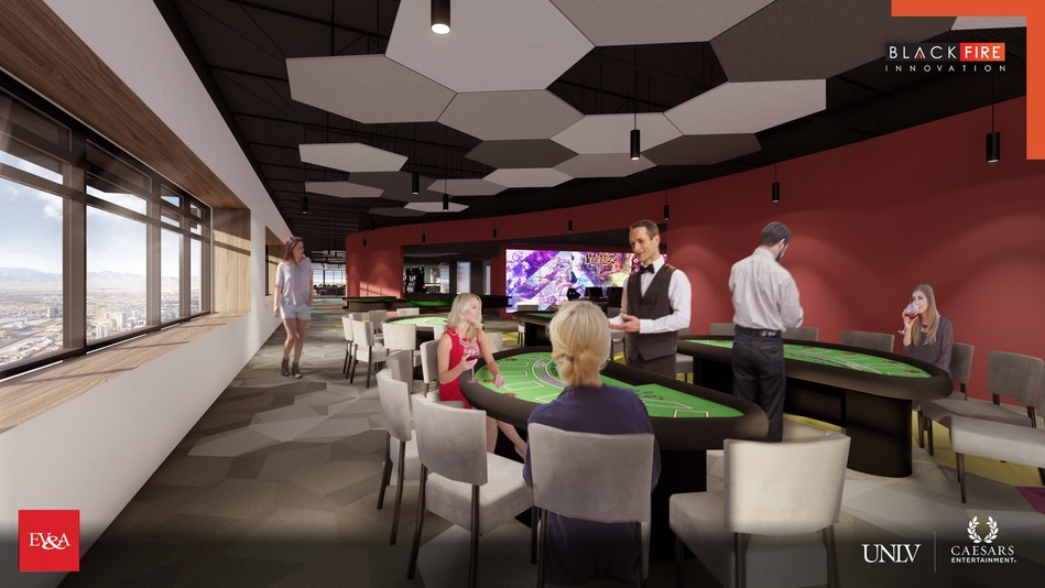 "The 43,000 square-foot ""Black Fire Innovation"" space, a partnership of UNLV and Caesars Entertainment, will include replicated elements of a Caesars casino and resort to provide real-life conditions for product testing and a place for students to train to enter the workforce of the future."