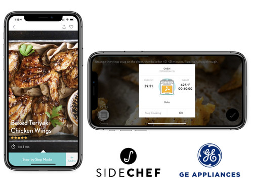 With SideChef's new GE Appliances integration, recipe cook times, temperatures, and cooking mode instructions are sent directly to GE Wifi Connect ovens and ranges with the tap of a button, freeing up the user to continue preparing the recipe. GE appliance owners will benefit from over 15,000 interactive connected recipes through SideChef.