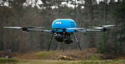 BFD H2-6 multi-rotor UAV, powered by Ballard's FCair™-1200 fuel cell system, undergoing field trials (CNW Group/Ballard Power Systems Inc.)