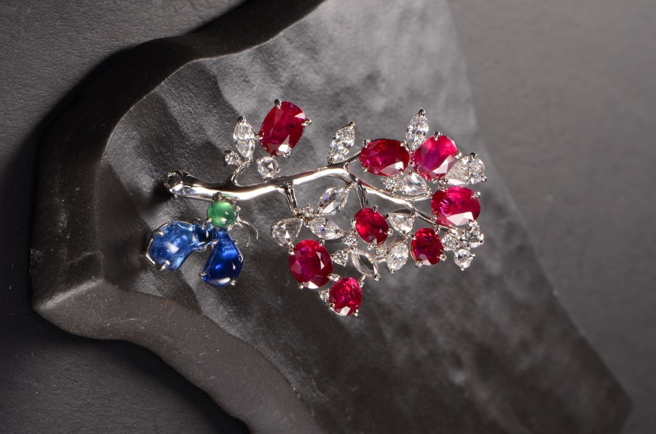 Unheated Burmese ruby and diamond brooch by Richman Jewelry