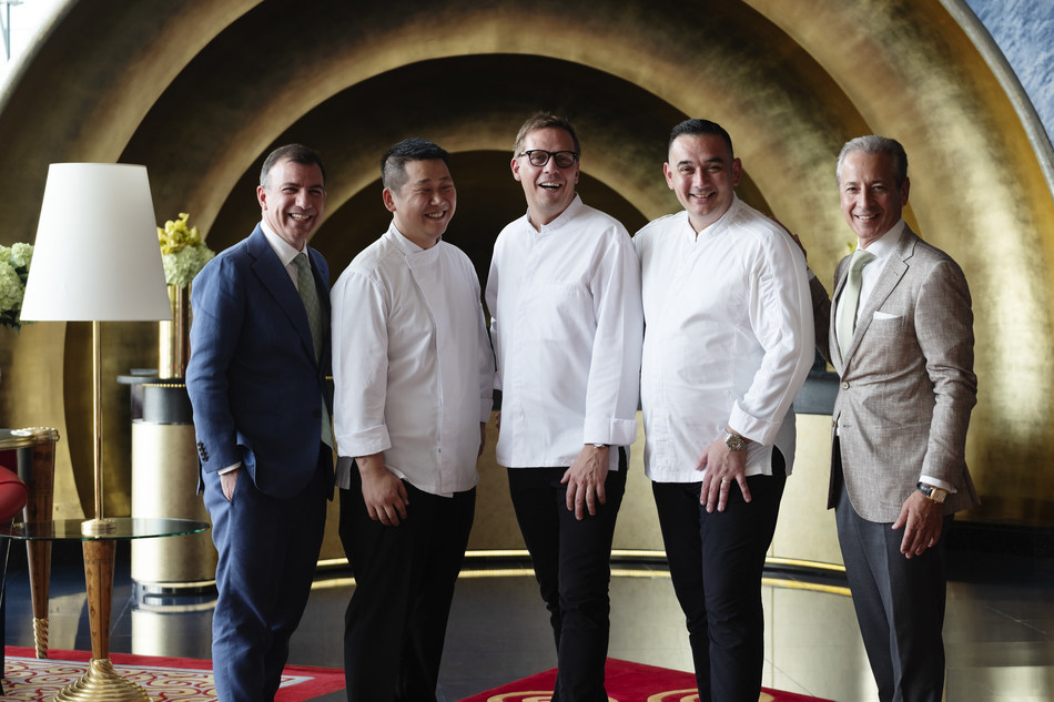 Anthony Costa, MD of Burj Al Arab, Chef Kim Joine Maurin, Chef Kasper Kurdahl, Chef Francky Semblat and Jose Silva, CEO of Jumeirah Group