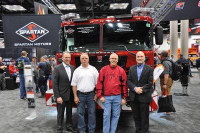 Pictured from left to right: Daryl Adams, President and CEO, Spartan Motors, Ken Smith, Deputy Chief, St. Louis Fire Department, Mike Arras, Deputy Chief, St. Louis Fire Department, Craig Brooks, General Manager, Spartan Emergency Response