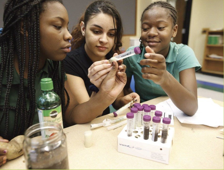 Youth working on a space exploration experiment. Photo credit: SSEP/NCESSE