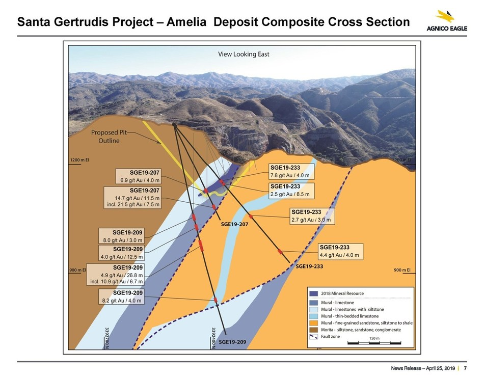 Santa Gertrudis Project – Amelia Deposit Composite Cross Section (CNW Group/Metalla Royalty and Streaming Ltd.)
