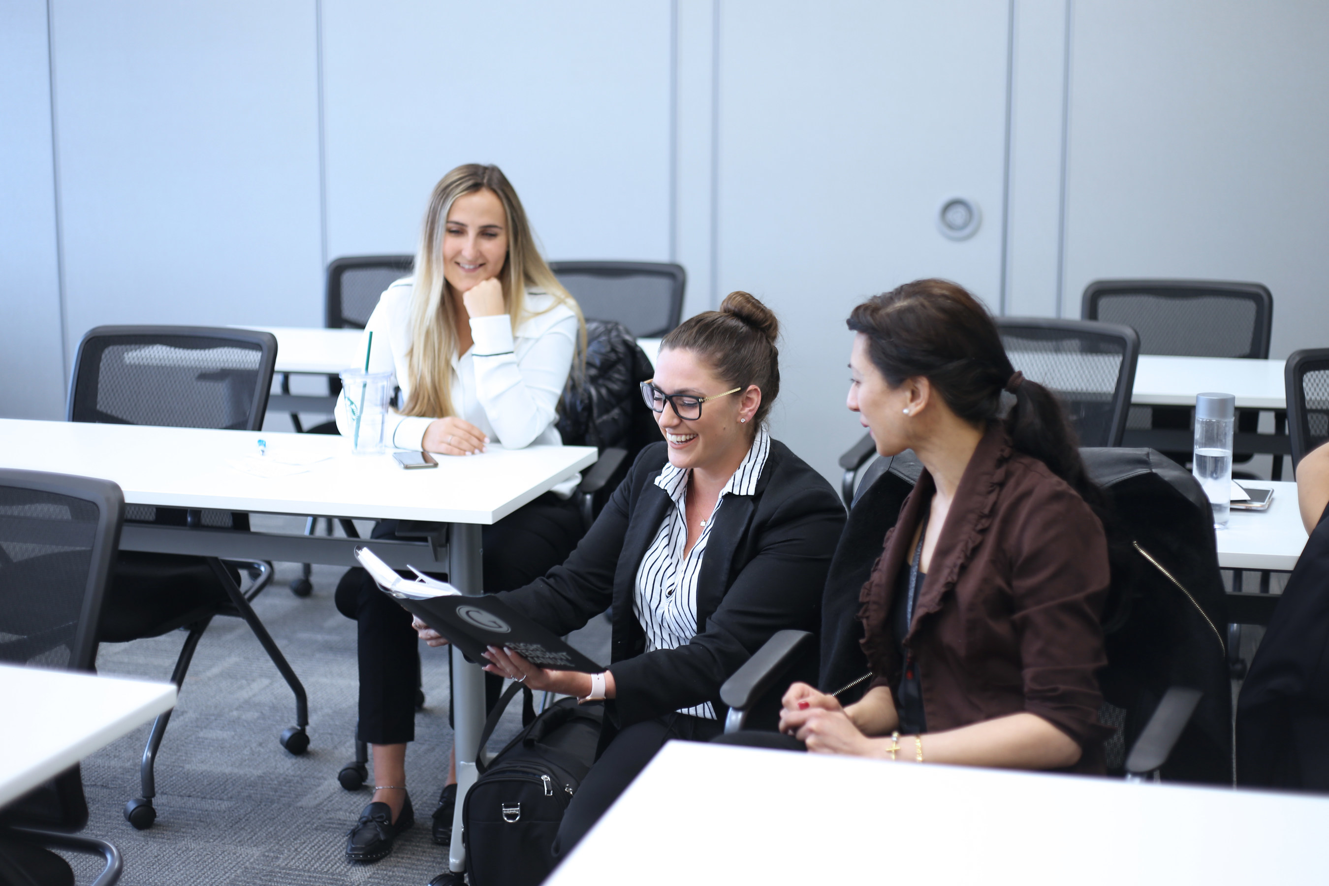 Air Georgian Flight Attendants (from left to right) Andrijka Welykanycz, Cassidy Scully, and Sarah Malinay actively participate in their Annual Recurrent Ground School Training at Air Georgian's Canadian Airline Professional Development Academy (CAPDA). (CNW Group/Air Georgian Limited)