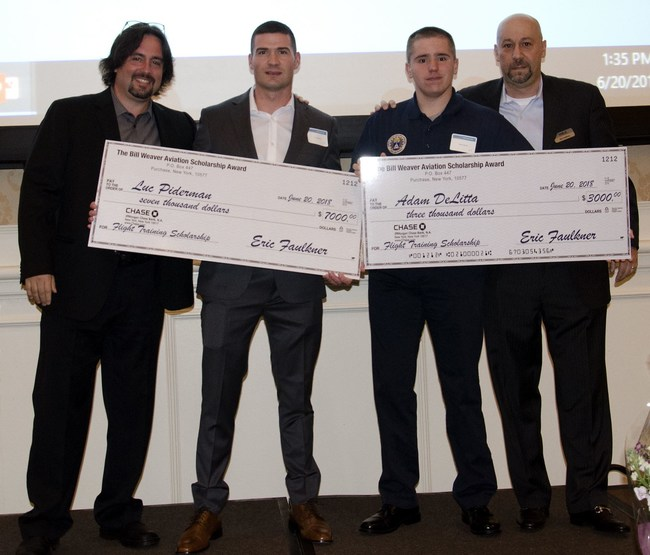Last year's scholarship winners. From left to right: Chris Richards, Academy of Aviation President; Luc Piderman, $7,000 scholarship winner; Adam Delitta, 3,000 scholarship winner; Eric Faulkner, WAA President