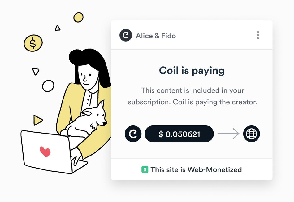 Coil provides first look at reimagined business model for content creators with streaming micropayments and an alternative to advertising and site-by-site subscriptions