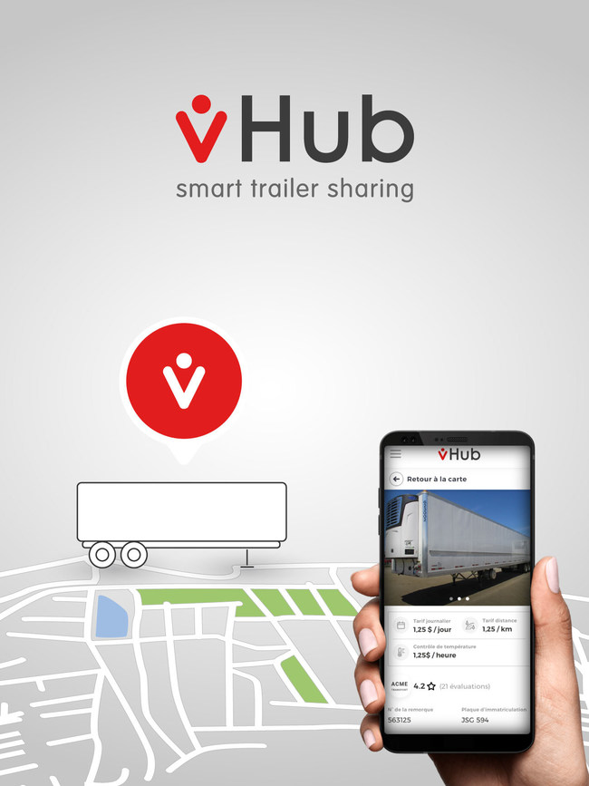 The vHub mobile application makes trailer inspection simple, fast and safe.  Drivers can start a reservation, declare damages and perform a return inspection in just a few minutes. vHub is available on Android and iOS. (CNW Group/vHub)