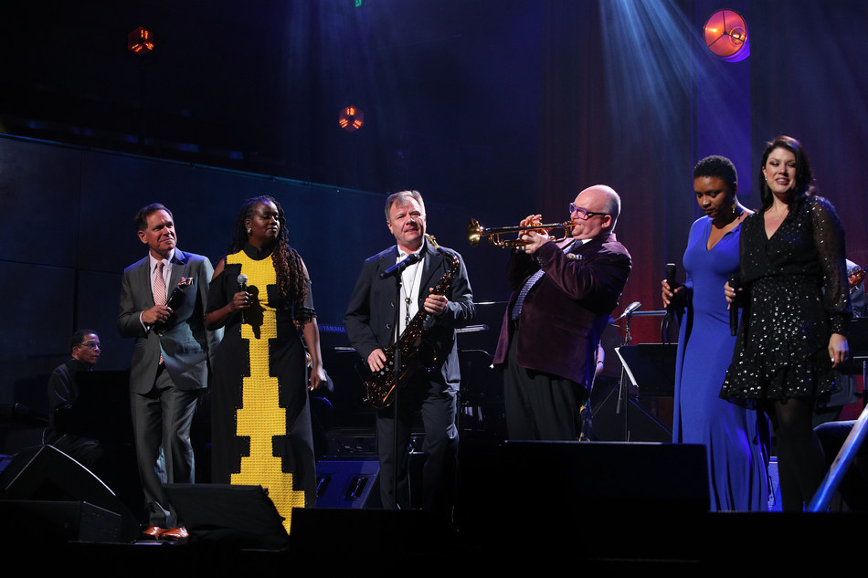 MELBOURNE, AUSTRALIA - APRIL 30: (L-R) Herbie Hancock, Kurt Elling, Somi, Igor Butman, James Morrison, Lizz Wright and Jane Monheit perform during the International Jazz Day 2019 All-Star Global Concert at Hamer Hall on April 30, 2019 in Melbourne, Australia. (Photo by Graham Denholm/Getty Images for Herbie Hancock Institute of Jazz)