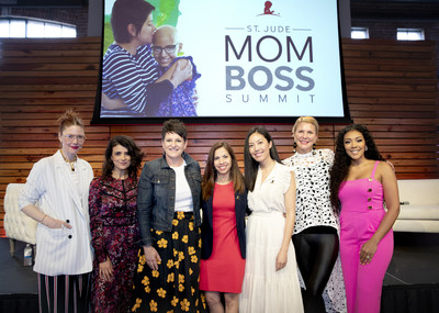 Christene Barberich, Ana Flores, Emily Callahan, Evelyn Homs Medero, Anh Sundstrom, Nora Fleming and Khadeen Ellis pose for a photo during a St. Jude Mom Boss Summit panel discussion held at the Domino's Event Center on Monday, April 29, 2019.