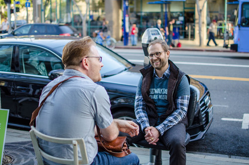 Fletcher Dennison, COO of SimplePractice, volunteers as a listener during a previous Sidewalk Talk event in Santa Monica, CA
