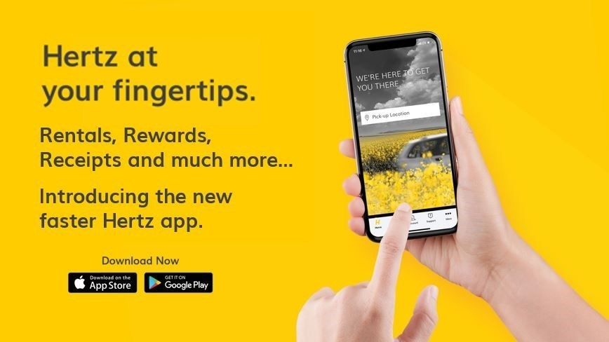 New Hertz app offers a booking and rental experience that's faster and more personalized.