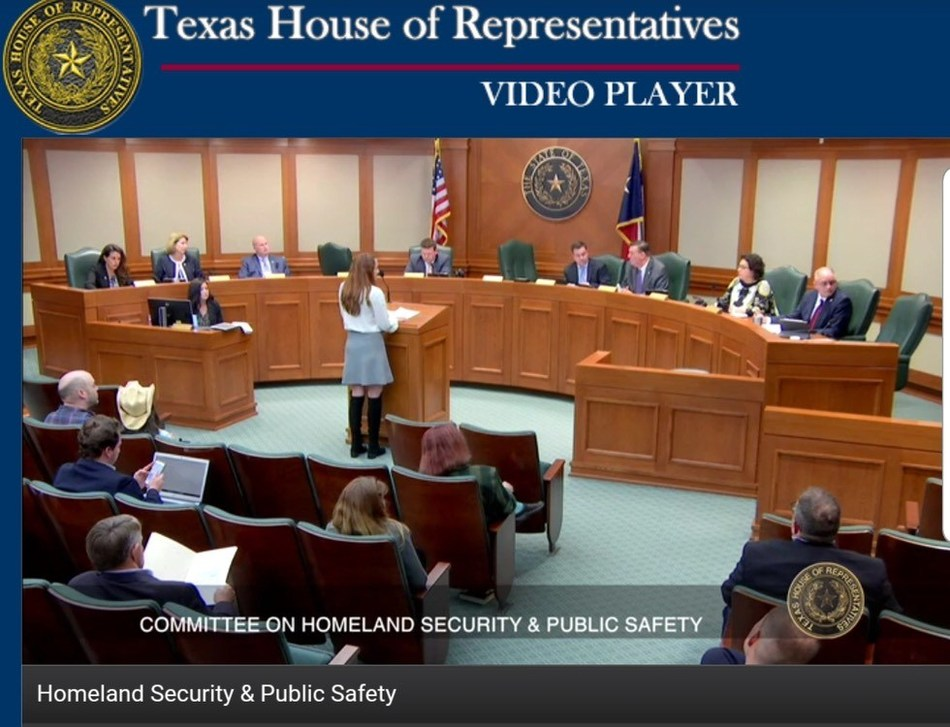 3 Men Movers CEO, Jacky Noons, speaks at a committee meeting for Homeland Security and Public Safety in support of House Bill 1505.