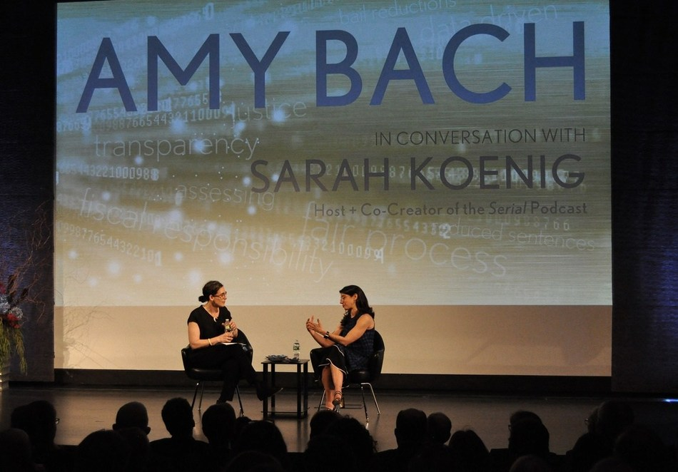 Sarah Koenig (L) of the Peabody-award winning podcast Serial, engages Amy Bach, Charles Bronfman Prize recipient, about criminal injustice.