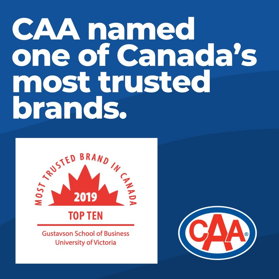 CAA named one of Canada's most trusted brands for the third year in a row. (CNW Group/Canadian Automobile Association)