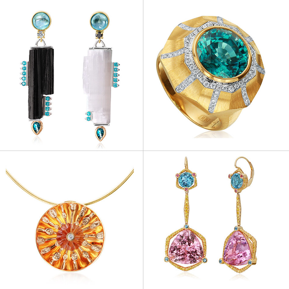 The winning jewelry in the 2019 Jewelers of America CASE Awards were Chris Jensen of C3 Designs rough Selenite crystal and rough black tourmaline crystal earrings; Ricardo Basta of Ricardo Basta Fine Jewelry blue zircon and 14-karat yellow gold ring; Thomas Dailing of Lee Ayers Jewelers 14-karat white gold pendant with citrine and diamonds; and Ricardo Basta of Ricardo Basta Fine Jewelry pink tourmaline and aquamarine earrings.