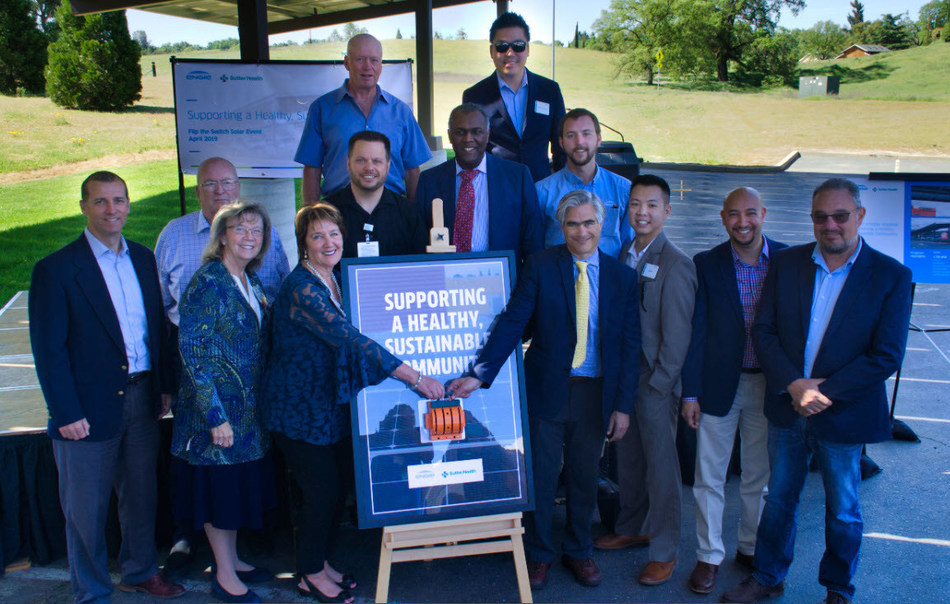 """Sutter Amador Hospital leadership and members of the ENGIE project team celebrate the site activation of Sutter's new solar PPA system during a """"flip the switch"""" celebration for community, staff, and sustainable energy partners on Friday, April 26, 2019."""