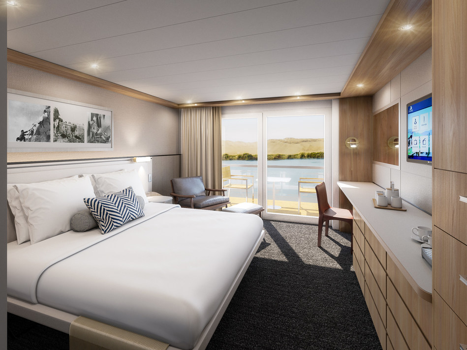 Artist rendering of a Veranda Stateroom on Viking Osiris, Viking's new river vessel for Egypt. Inspired by the design of the award-winning Viking Longships and built specifically for the Nile River, the 82-guest Viking Osiris is currently under construction and double the company's owned capacity in Egypt when it debuts in September 2020.