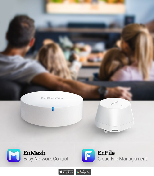The MESHdot Kit is comprised of the ESR530 and Mesh Dot and provides wireless connectivity for smart home and IoT devices. Optimize the MESHdot Kit with the EnMesh and EnFile app. EnMesh provides easy set-up and remote management of your network. EnFile allows you to experience more than just Wi-Fi from your smart router. EnFile offers file management on any mobile device as well as creating personal cloud storage through the ESR530.