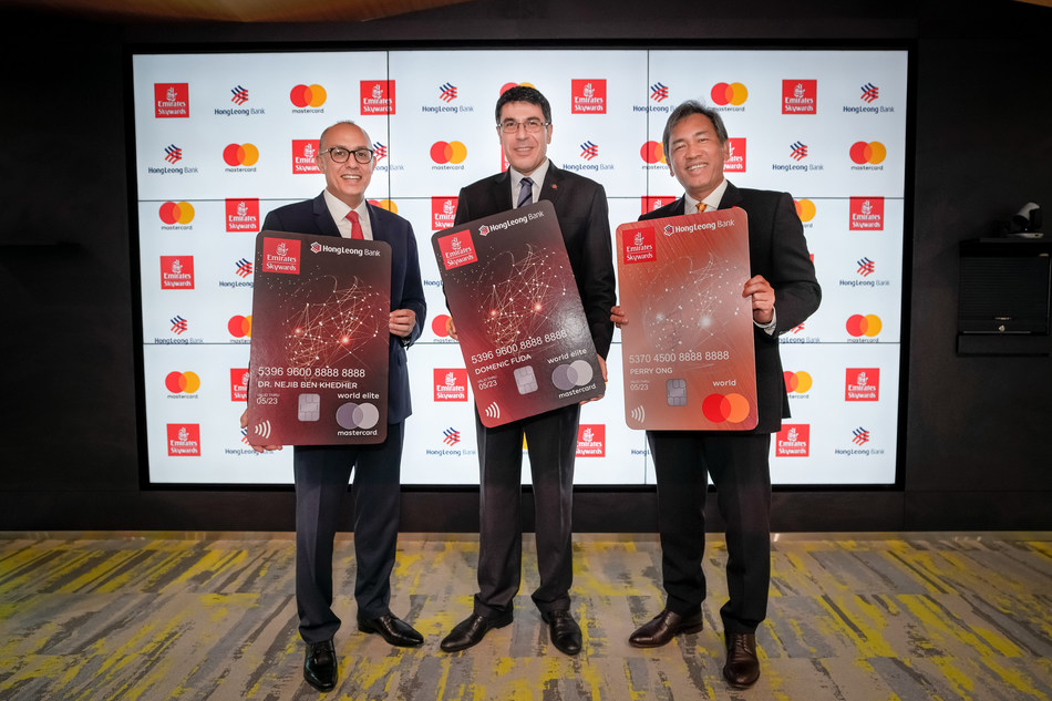 Dr Nejib Ben Khedher, Senior Vice President, Emirates Skywards, Domenic Fuda, HLB Group Managing Director and Chief Executive Officer and Perry Ong, Country Manager, Malaysia and Brunei, Mastercard during the launch of Emirates HLB Mastercard cards in Kuala Lumpur recently.