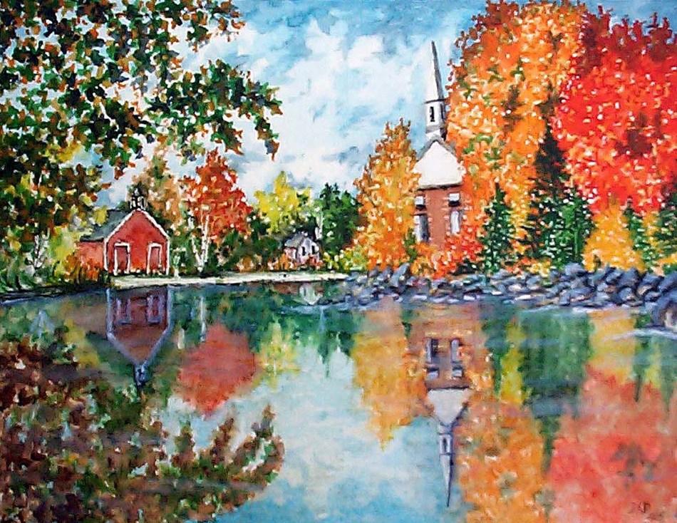 """Autumn in the Village"" by David Desjardins, one of MSAA's Art Showcase artists."