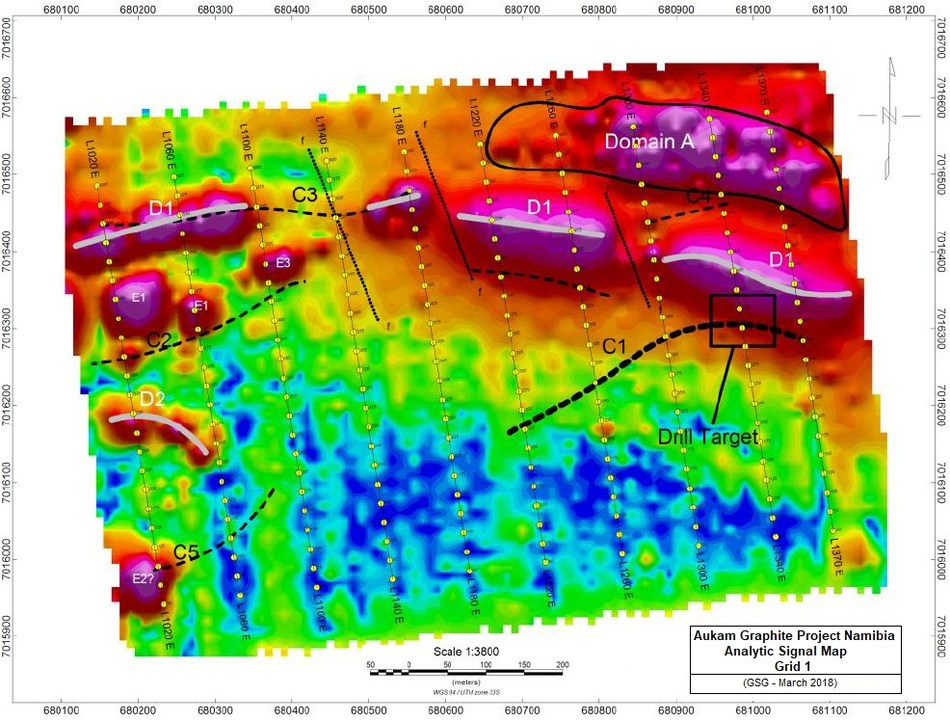 Figure 2 showing the interpretation overlain on  the Grid 1 Analytic Signal Map. Conductors C1 to C5 interpreted as possible graphitic mineralization. The best EM anomaly is C1 and trenching and drilling is recommended on Line 1340 (CNW Group/Gratomic)