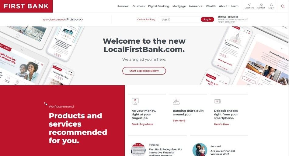 First Bank's new website features a streamlined design, improved SEO, and tools to help visitors find what they need faster.
