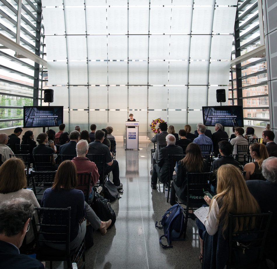Family, friends and colleagues gathered at last year's Journalists Memorial rededication on June 4, 2018. The 2019 ceremony will take place June 3, at the Newseum in Washington, D.C.