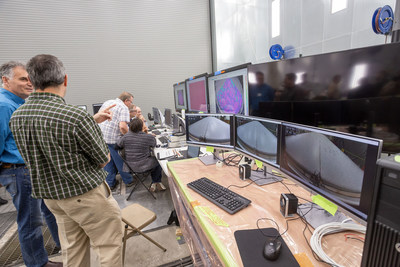 As seen in the control room, the photogrammetry visuals provide insight in to the real-time displacements and strains on the heat shield while pressure is being applied.