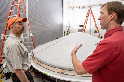 The Lockheed Martin-built heat shield, shown here in the testing phase, is just one component in the final aeroshell that will protect the Mars 2020 rover on its long journey to Mars.