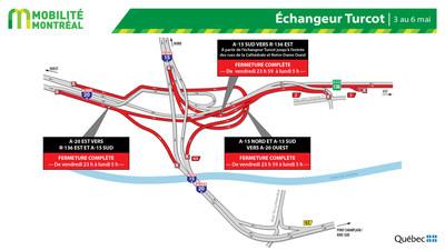 Fermetures de bretelles dans l'échangeur Turcot, fin de semaine du 3 mai (Groupe CNW/Ministère des Transports)