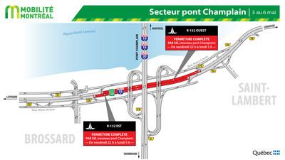 Secteur pont Champlain - R-132 à Brossard, fin de semaine du 3 mai (Groupe CNW/Ministère des Transports)