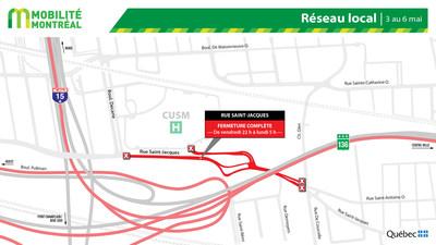 Rue Saint-Jacques et réseau local, fin de semaine du 3 mai (Groupe CNW/Ministère des Transports)