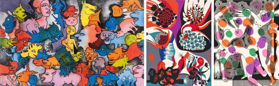 De gauche à droite : trois des cinquante sérigraphies qui seront présentées et offertes à la vente à la Galerie Thompson Landry. Crédits : Alfred Pellan, Aux petites têtes, du livre d'artiste «Délirium Concerto», 1981. / Alfred Pellan, Joie de vivre, 1975. / Alfred Pellan, Les Grâces, 1974. Collection du Musée national des beaux-arts du Québec, legs Madeleine Poliseno-Pelland. © Succession Alfred Pellan / SOCAN. Photo : MNBAQ (Groupe CNW/Musée national des beaux-arts du Québec)