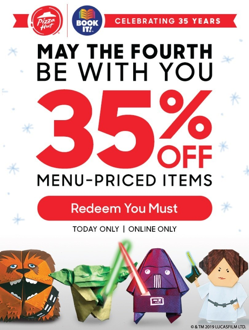 """In celebration of its 35th anniversary, the Pizza Hut BOOK IT! program announces New York Times bestselling author Tom Angleberger as its newest author partner, with 35% off all menu-priced items on """"May the Fourth"""" to celebrate!"""