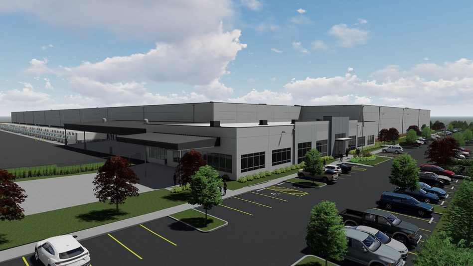 Rendering of Columbia Distributing's future warehouse in Canby, Oregon. Opening fall 2020.