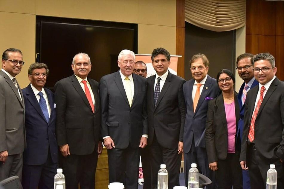 Dr Gurpreet Sandhu (President-CHP) with Congressman Steny H Hoyer (House Majority Leader), Dr Naresh Parikh, MD (President-AAPI) & Dr Vinod K Shah (Chairman-AAPI) at Legislative Day at the Capitol Hill, Washington D.C. (PRNewsfoto/CHP)