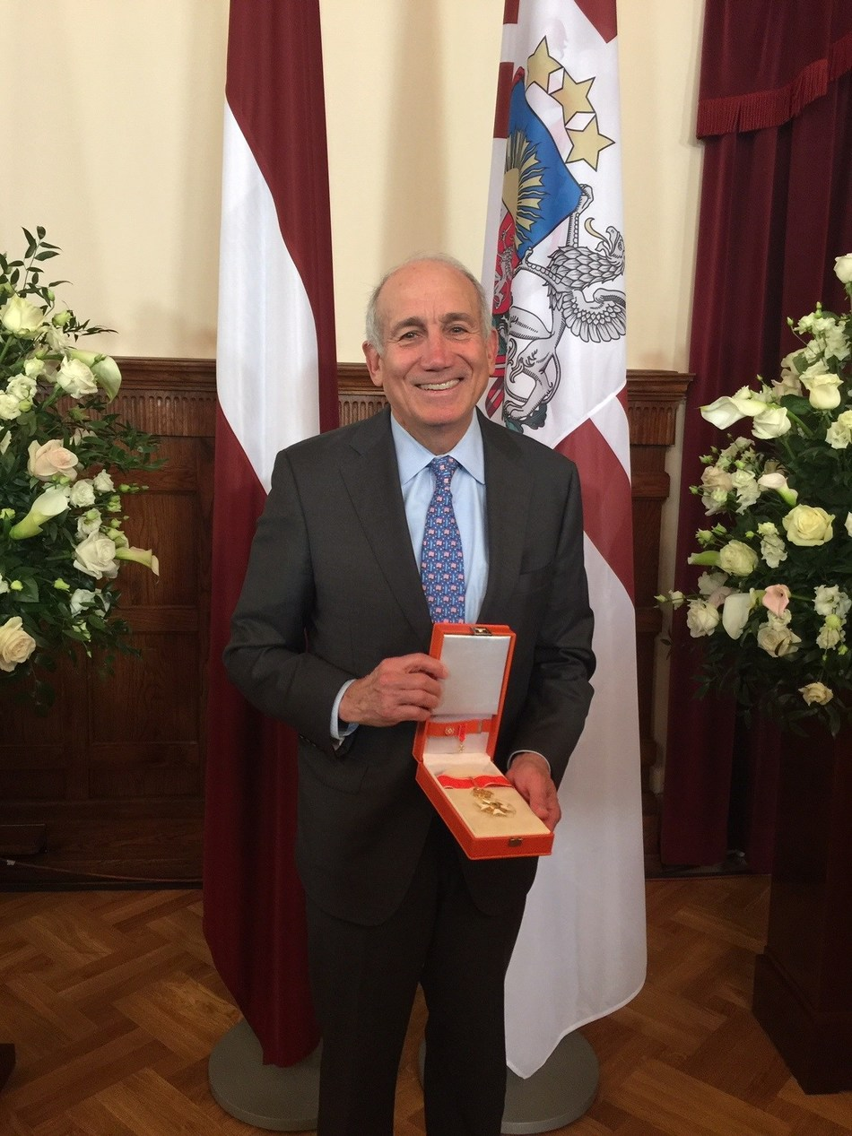 Kim G. Davis, Chairperson of the Baltic-American Freedom Foundation, with the Cross of Recognition he was awarded today by the Republic of Latvia