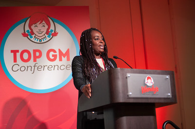 Wendy's 2018 top General Manager (GM), Carteina Riddick, addressing her peers at Wendy's Top GM Conference in Dublin, Ohio.