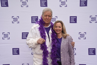 Alex Trebek and Julie Fleshman, President and CEO of the Pancreatic Cancer Action Network, at PurpleStride Los Angeles, the walk to end pancreatic cancer.