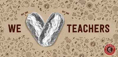Chipotle will be offering a buy-one-get-one (BOGO) on National Teacher Appreciation Day, Tuesday, May 7